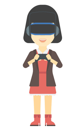 headset woman: An asian woman wearing a virtual relaity headset with remote control in hands vector flat design illustration isolated on white background. Vertical layout.