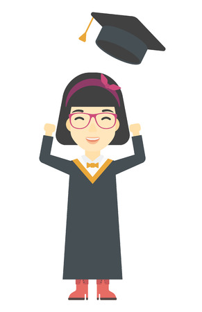 graduate asian: An asian graduate throwing up her hat vector flat design illustration isolated on white background. Vertical layout.