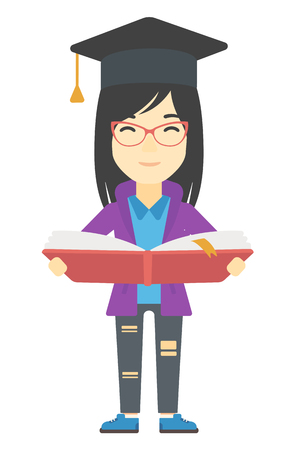 graduate asian: An asian woman in graduation cap with an open book in hands vector flat design illustration isolated on white background. Vertical layout. Illustration