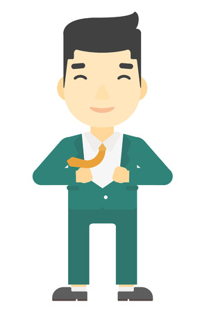 undress: An asian businessman taking off his jacket vector flat design illustration isolated on white background. Vertical layout. Illustration