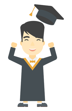graduate asian: An asian graduate throwing up his hat vector flat design illustration isolated on white background. Vertical layout.