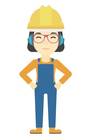 yellow hard hat: An asian woman wearing a yellow hard hat and headphones vector flat design illustration isolated on white background. Vertical layout. Illustration