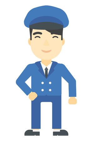 chofer de autobus: Un hombre simpático conductor del autobús escolar vector de diseño plano ilustración asiático aislado en el fondo blanco. disposición vertical.
