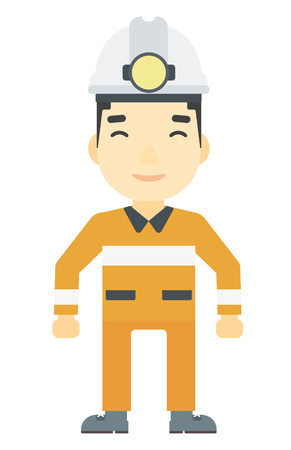 An asian miner in hardhat with torch vector flat design illustration isolated on white background. Vertical layout. Ilustração