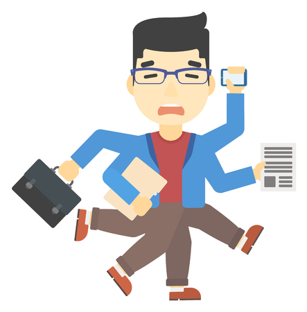 An asian man with many hands holding papers, suitcase, devices vector flat design illustration isolated on white background. Vertical layout. Illustration