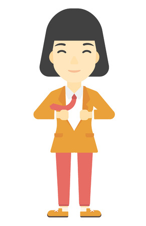 undress: An asian business woman taking off her jacket vector flat design illustration isolated on white background. Vertical layout. Illustration