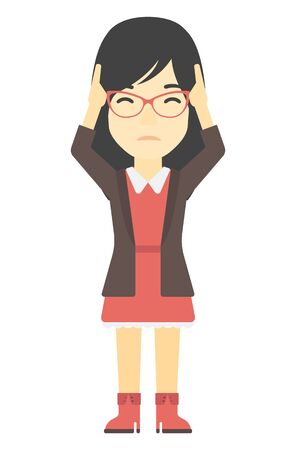 clutching: An asian woman clutching her head vector flat design illustration isolated on white background. Vertical layout. Illustration