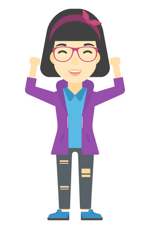asian woman: An asian  woman with raised hands up vector flat design illustration isolated on white background. Vertical layout.