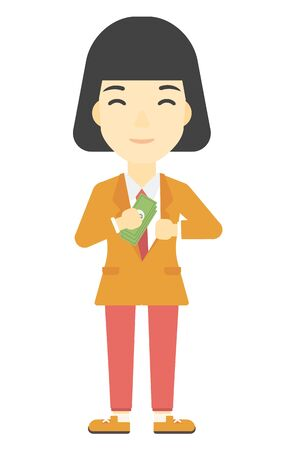 bribery: An asian business woman putting money in her pocket vector flat design illustration isolated on white background. Vertical layout.