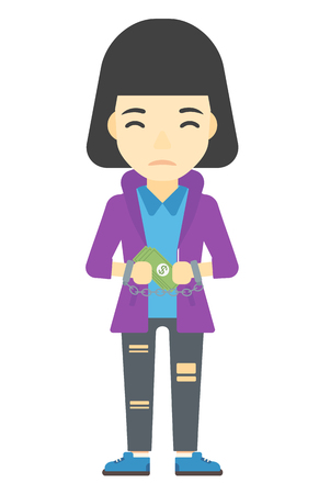 An asian business woman in handcuffs with money in hands vector flat design illustration isolated on white background. Vertical layout.