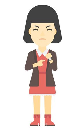 lateness: An asian angry boss pointing at wrist watch vector flat design illustration isolated on white background. Vertical layout.