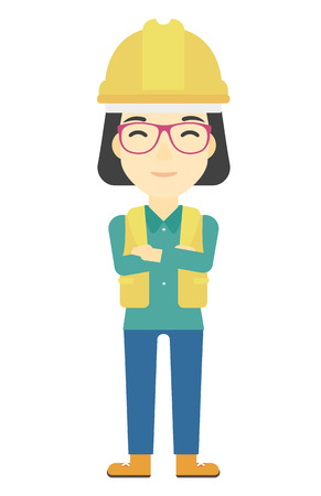 asian architect: An asian confident constructor standing with arms crossed vector flat design illustration isolated on white background. Vertical layout. Illustration