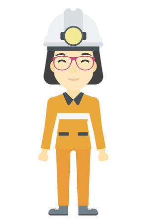workwoman: An asian miner in hardhat with torch vector flat design illustration isolated on white background. Vertical layout. Illustration