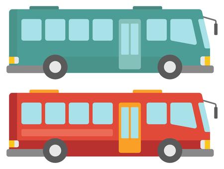 白い背景に分離された 2 つの都市バス ベクトル フラットなデザイン図の側面図です。  イラスト・ベクター素材
