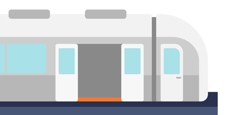 Modern high speed train vector flat design illustration isolated on white background.
