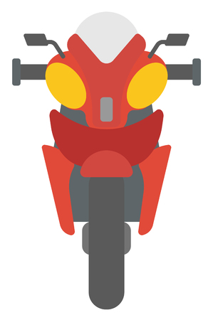 front of: Classic retro motorcycle vector flat design illustration isolated on white background.