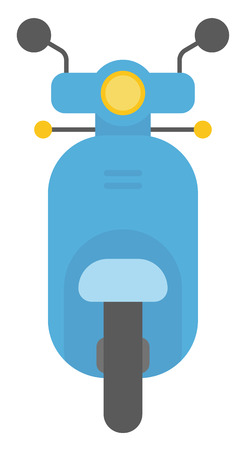 one wheel bike: Modern classic scooter vector flat design illustration isolated on white background. Illustration
