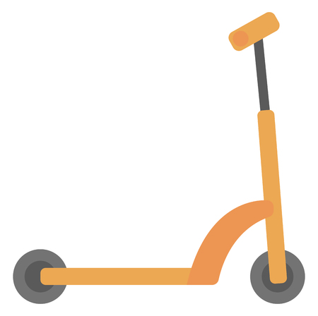 Kick scooter vector flat design illustration isolated on white background.