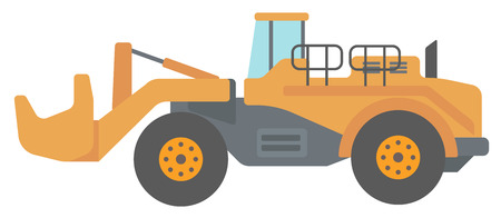 sandpit: Large yellow dredge vector flat design illustration isolated on white background.