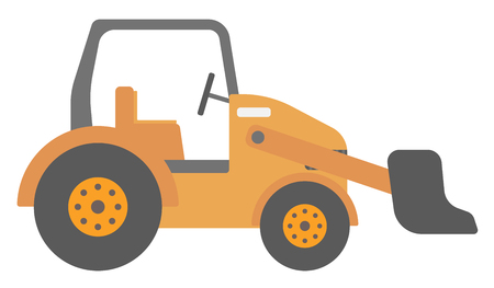 Large yellow bulldozer vector flat design illustration isolated on white background. Illustration