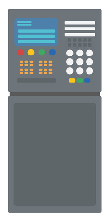 industrial complex: Industrial control panel vector flat design illustration isolated on white background.