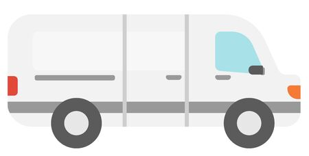 hauler: Commercial delivery truck vector flat design illustration isolated on white background.
