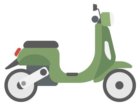 Moderne klassieker scooter vector platte ontwerp illustratie op een witte achtergrond.