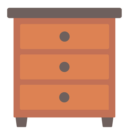 bedside: Brown bedside table vector flat design illustration isolated on white background. Illustration
