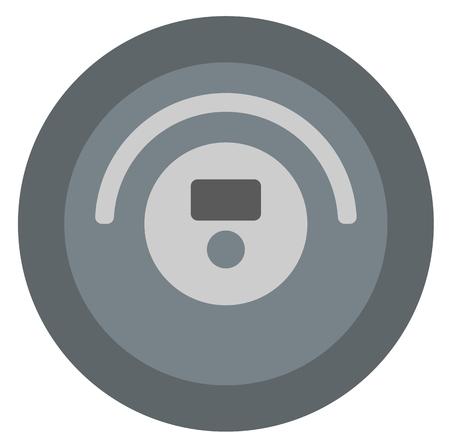 inhale: Robotic vacuum cleaner vector flat design illustration isolated on white background. Illustration