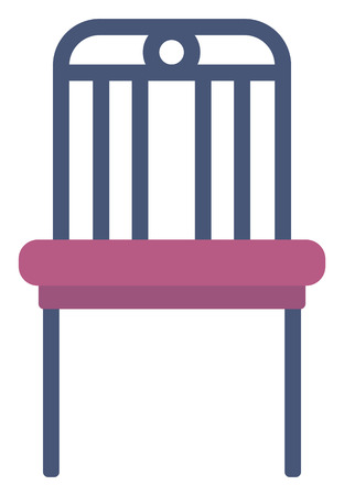 padded stool: Modern purple chair vector flat design illustration isolated on white background.
