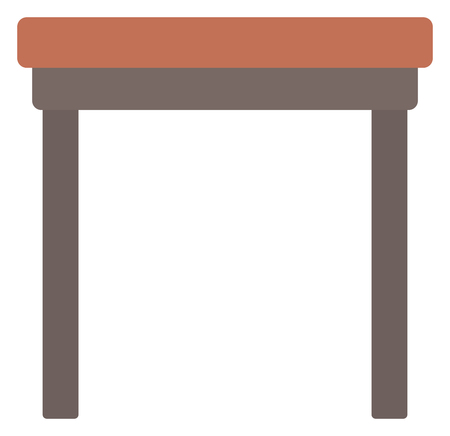 coffee table: Brown wood coffee table vector flat design illustration isolated on white background.