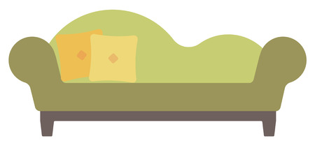 chaise lounge: Green chaise lounge with pillows vector flat design illustration isolated on white background.
