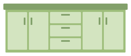 Kitchen cabinet with drawers vector flat design illustration isolated on white background. Illustration