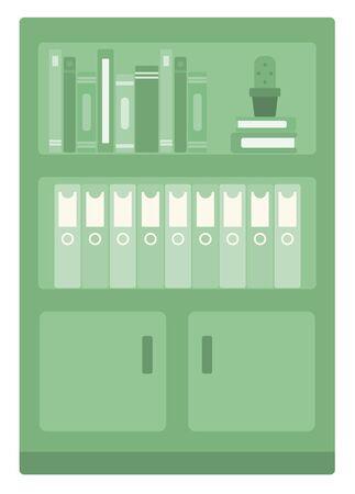 dossier: Office shelves with folders vector flat design illustration isolated on white background.