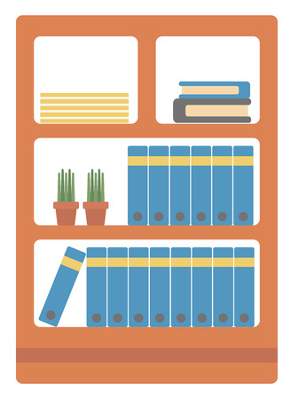 book racks: Office shelves with folders vector flat design illustration isolated on white background.
