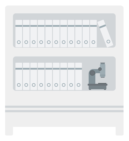 Shelves with folders and microscope vector flat design illustration isolated on white background.