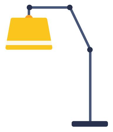 Yellow floor lamp vector flat design illustration isolated on white background. Illustration