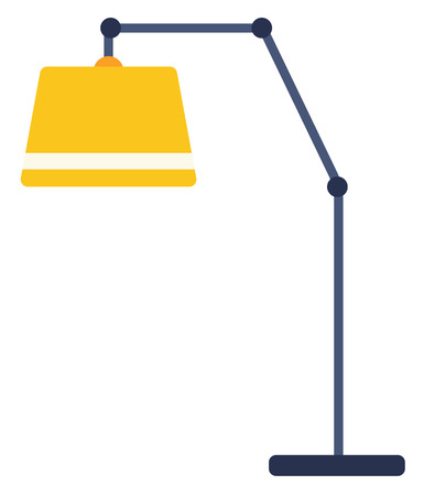 Yellow floor lamp vector flat design illustration isolated on white background. Иллюстрация