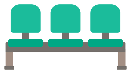 chair cartoon: Row of green chairs vector flat design illustration isolated on white background.