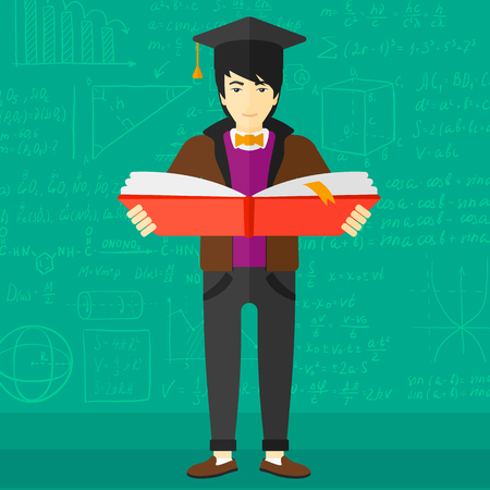 An asian man in graduation cap with an open book in hands on a background of green blackboard with mathematical equations vector flat design illustration. Square layout. 矢量图像