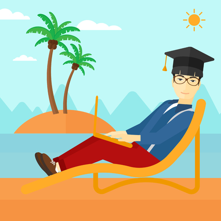 graduate asian: An asian man in graduation cap lying in chaise long with laptop on the beach vector flat design illustration. Square layout.