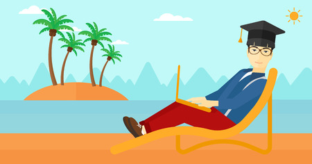 asian man laptop: An asian man in graduation cap lying in chaise long with laptop on the beach vector flat design illustration. Horizontal layout.