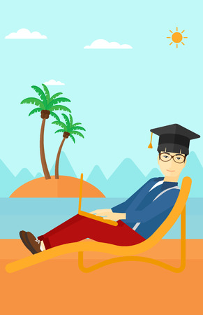 asian man laptop: An asian man in graduation cap lying in chaise long with laptop on the beach vector flat design illustration. Vertical layout.