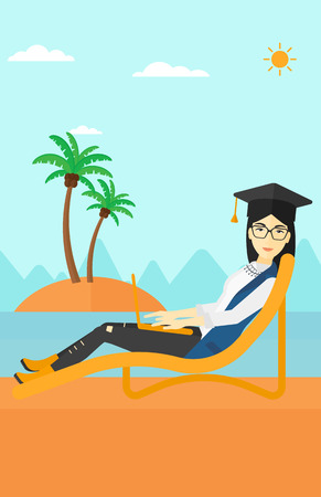 lying in: An asian woman in graduation cap lying in chaise long with laptop on the beach vector flat design illustration.  Vertical layout. Illustration