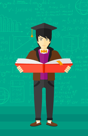 An asian man in graduation cap with an open book in hands on a background of green blackboard with mathematical equations vector flat design illustration. Vertical layout.