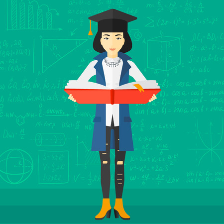 female student: An asian woman in graduation cap with an open book in hands on a background of green blackboard with mathematical equations vector flat design illustration. Square layout.