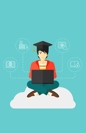 asian man laptop: An asian man sitting on the cloud with a laptop and some icons connected to the laptop on the background of blue sky vector flat design illustration. Vertical layout. Illustration