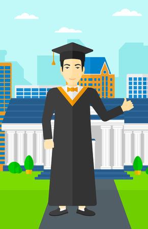 graduacion caricatura: Un hombre asi�tico en la capa y el sombrero que muestra el pulgar encima de la muestra en el fondo de la educaci�n Vector del edificio de la ilustraci�n dise�o plano. disposici�n vertical.