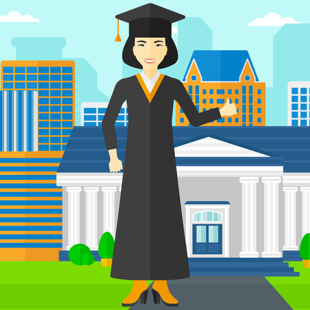 An asian woman in cloak and hat showing thumb up sign on the background of educational building vector flat design illustration. Square layout.
