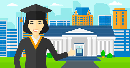 alumnus: An asian woman in cloak and hat showing thumb up sign on the background of educational building vector flat design illustration. Horizontal layout.